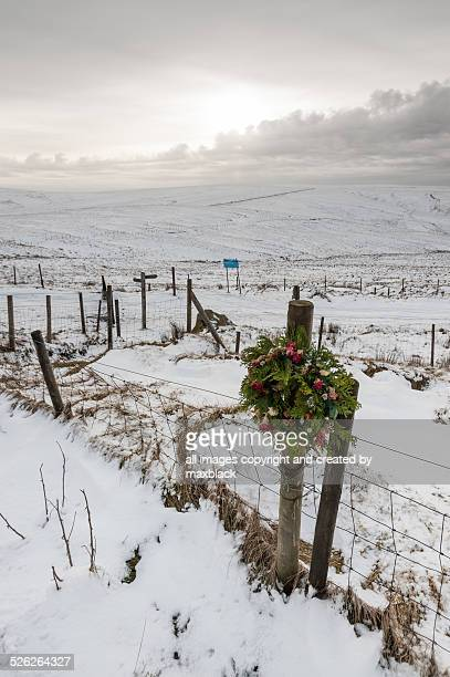wreath on the moors-moors murders. - moors murders stock pictures, royalty-free photos & images