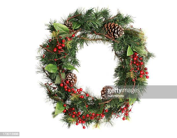 wreath on white - holly stock pictures, royalty-free photos & images