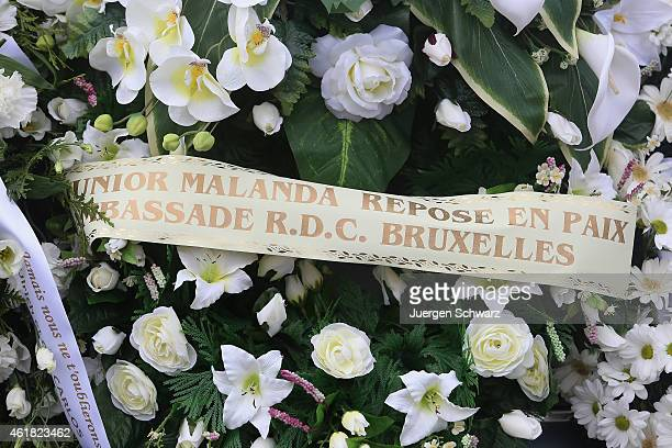 A wreath reads Junior Malanda rest in Peace at the funeral service for soccer player Junior Malanda at Basilica of the Sacred Heart on January 20...