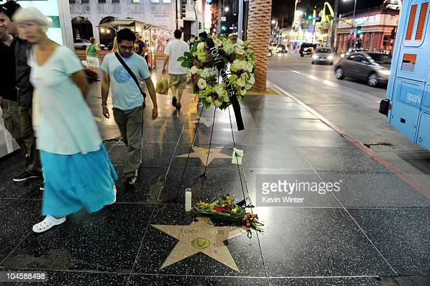 A wreath rests at the star of actor Tony Curtis who died yesterday aged 85 on the Hollywood Walk of Fame on September 30 2010 in Los Angeles...