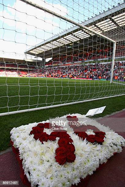 Wreath sits behind the kop end goal to remember the victims of the Hillsborough disaster during the Barclays Premier League match between Liverpool...