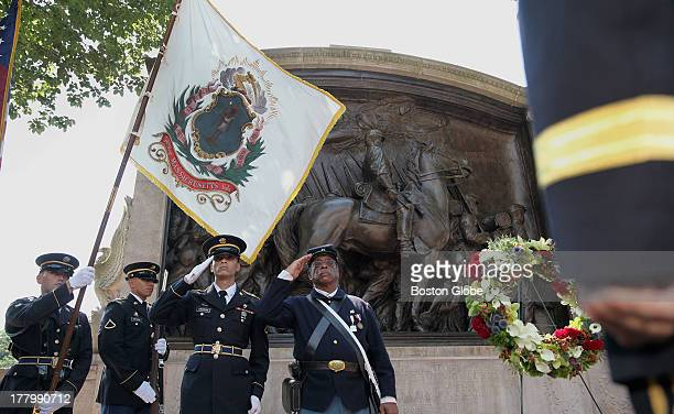 A wreath was placed in front of the Robert Gould Shaw Memorial in Boston Thursday July 18 2013 A ceremony was held on the steps of the State House to...