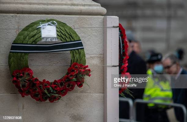 Wreath with a note from Prince Phillip following the National Service of Remembrance at The Cenotaph on November 8, 2020 in London, England....