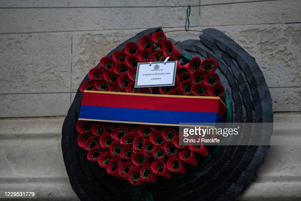 A wreath with a note from the Queen Elizabeth II following the National Service of Remembrance at The Cenotaph on November 8 2020 in London England...