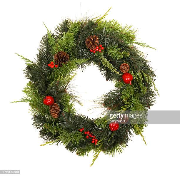 wreath with pinecones and  berries - christmas garland stock pictures, royalty-free photos & images