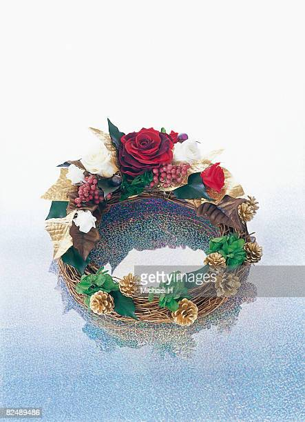 wreath with rose - michael holly stock pictures, royalty-free photos & images