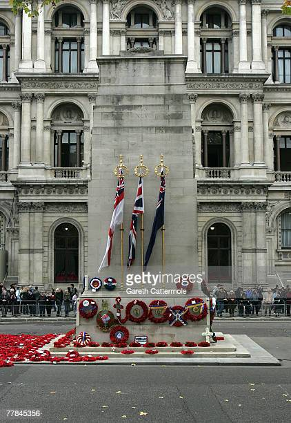 Wreaths adorn the Cenotaph at Remembrance Sunday ceremonies on November 11 2007 in London Queen Elizabeth II led the Remembrance Sunday ceremony...