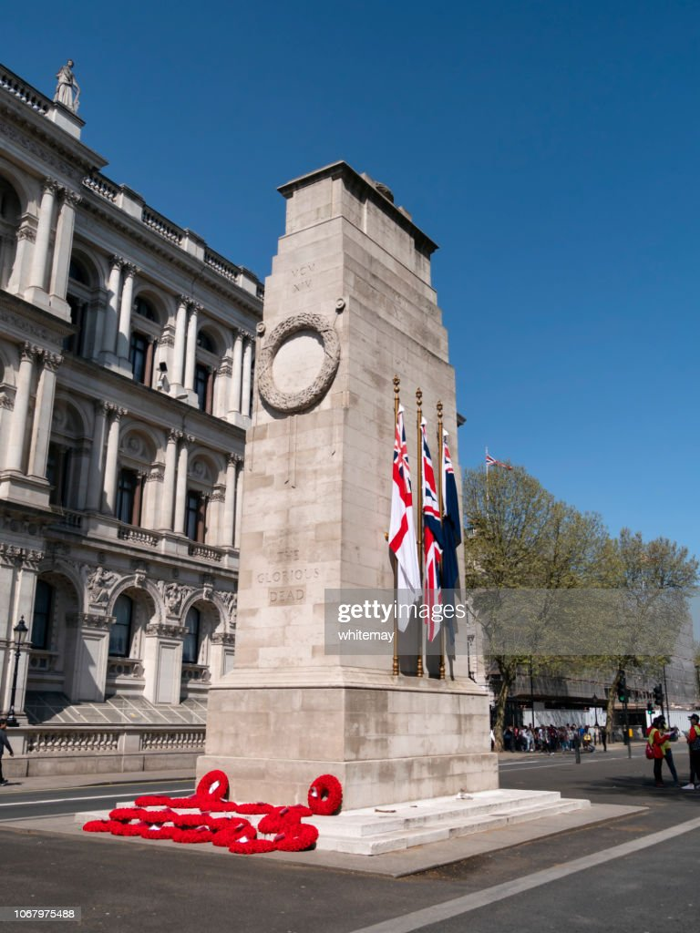 Wreaths and flags on The Cenotaph in Whitehall, London : Stock Photo