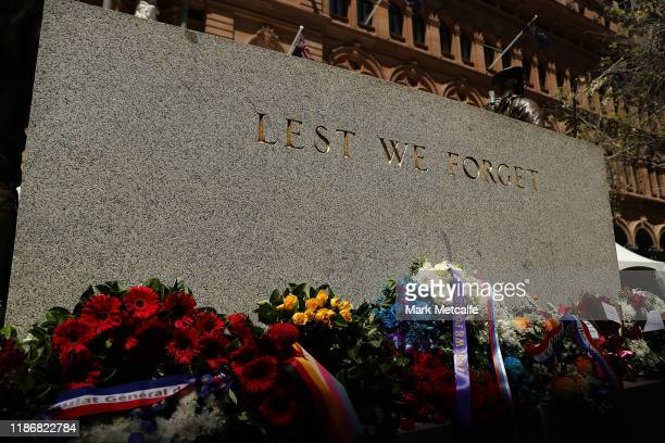 Wreaths and flowers are laid at the cenotaph during a Remembrance Day Service at Martin Place on November 11 2019 in Sydney Australia Remembrance Day...