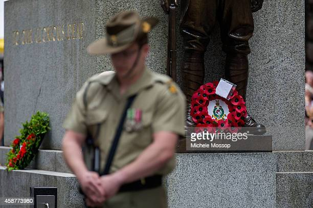 Wreaths and personalised messages are laid on the Cenotaph during the Remembrance Day Service held at the Cenotaph Martin Place on November 11 2014...