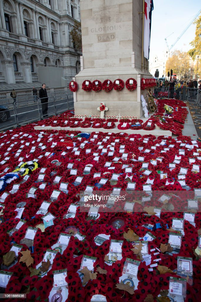 Wreaths And Poppies Of Remembrance In London : News Photo