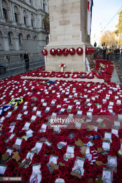 Wreaths and poppies in remembrance to commemorate the dead of the Great Wars laid at The Cenotaph on 14th November 2018 in London United Kingdom 2018...