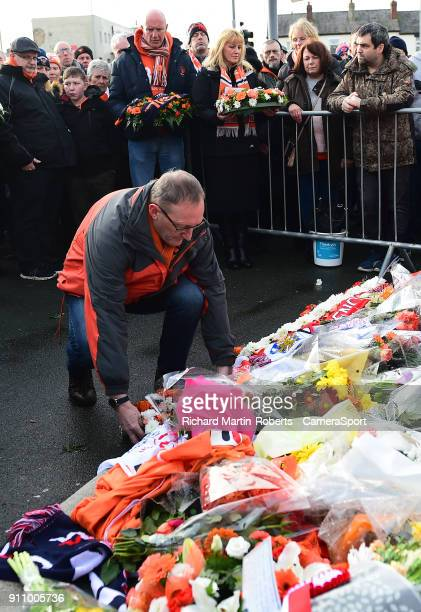 Wreaths are laid at the Jimmy Armfield statue outside Bloomfield Rd home of Blackpool FC to honour the late Jimmy Armfield during the Sky Bet League...