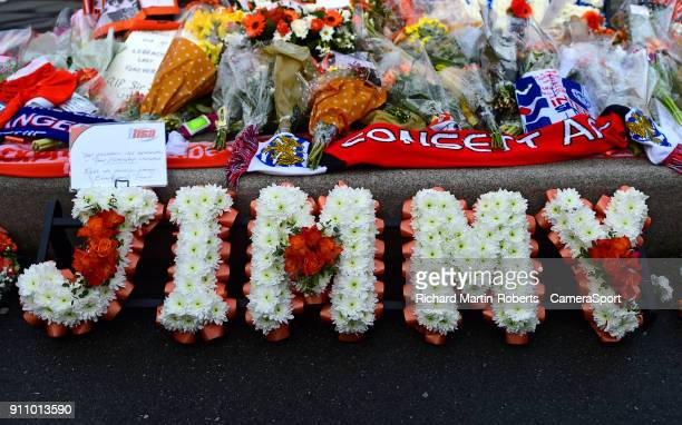 BLACKPOOL ENGLAND JANUARY Wreaths are laid at the Jimmy Armfield Statue outside Bloomfield Rd home of Blackpool FC to honour the late Jimmy Armfield...