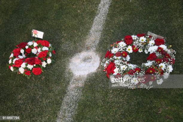 Wreaths are laid in memory of the victims of the Munich Air Disaster on the 60th anniversary at Partizan Stadium on February 6 2018 in Belgrade Serbia