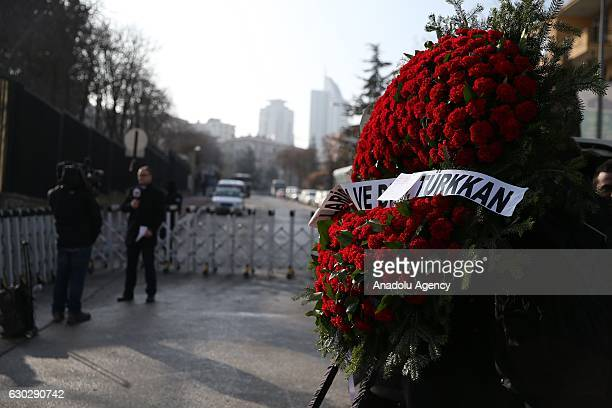 Wreaths are left outside the Russian Embassy in Ankara following the assassination of Russia's ambassador to Turkey Andrey Karlov in Ankara Turkey on...