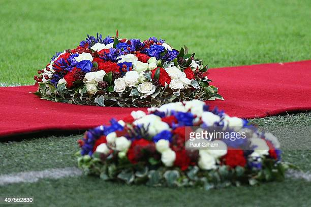 Wreaths are plaed prior to the International Friendly match between England and France at Wembley Stadium on November 17 2015 in London England