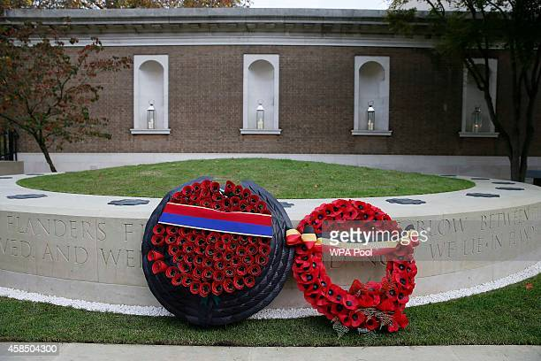 Wreaths are seen after they were left at the Flanders' Fields Memorial Garden at Wellington Barracks on November 6 2014 in London England