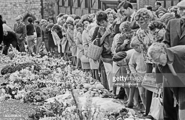 Wreaths at Windsor Castle in Windsor, UK, during the lying-in-state of the Duke of Windsor, formerly King Edward VIII, June 1972.
