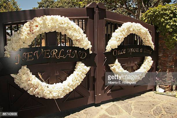 Wreaths hanges on the entrance at Michael Jackson's Neverland Ranch on June 28, 2009 in Los Olivos, California.