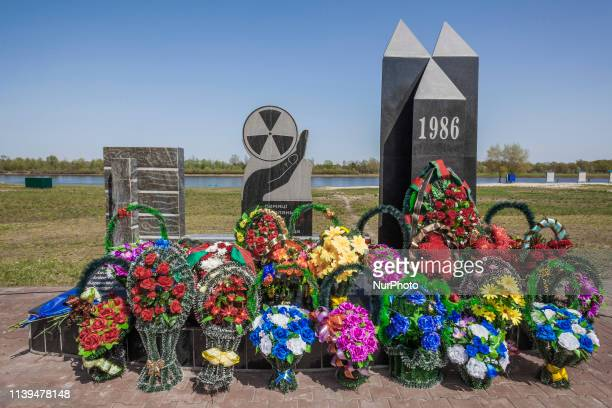Wreaths in the Chernobyl memorial in Naroulia Belarus during the celebrations of the 33 anniversary of the catastrophe In 1986 the city experienced...