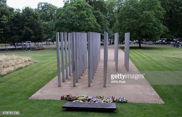 Wreaths laid at the July 7 memorial in Hyde Park on July 7 2015 in London England Today is the tenth anniversary of the 7/7 bombings when four...