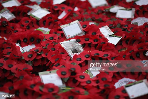 Wreaths lay at the foot of the Cenotaph after the Remembrance Day Sunday service on November 8, 2009 in London, England. This year marks the 70th...