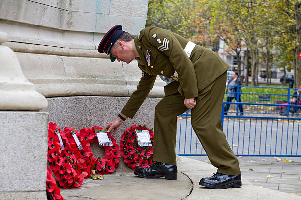 wreaths layed at the War Memorial, Euston Railway Station