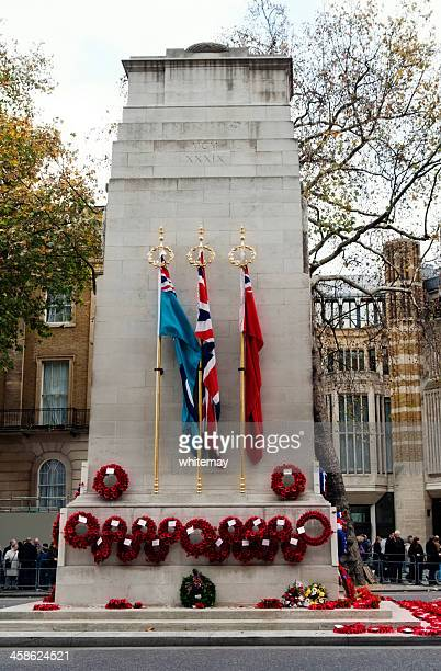 wreaths on the cenotaph, whitehall - war memorial stock pictures, royalty-free photos & images