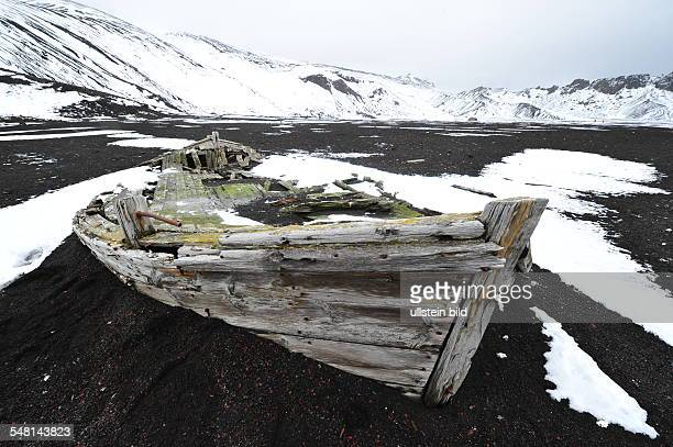 Wreck in the crater of the active volcano of Deception Island
