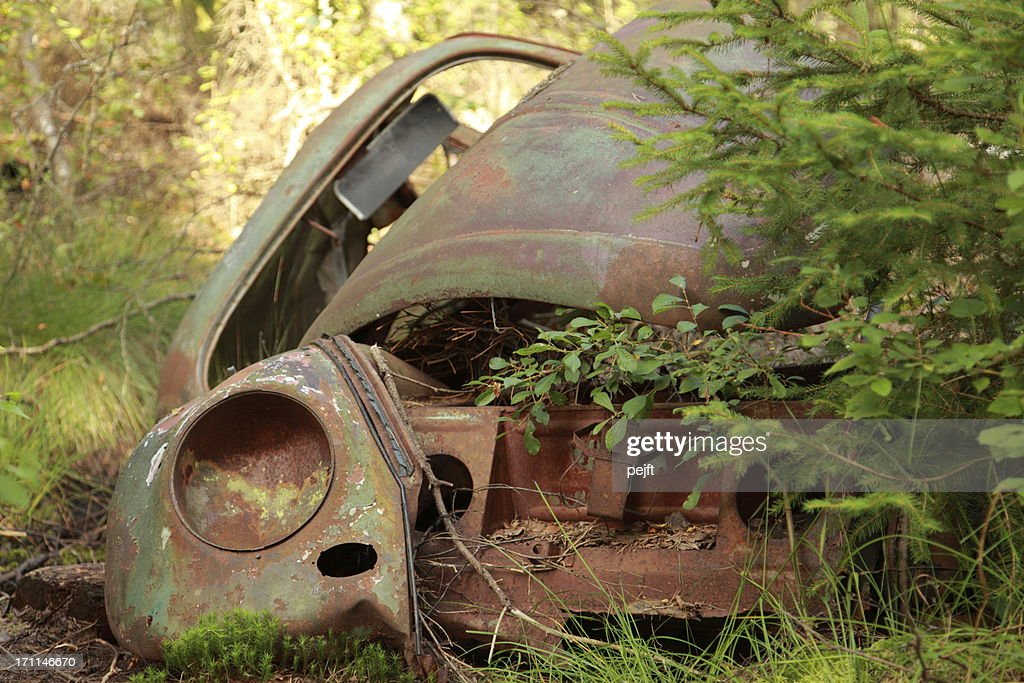 Wreck of a classic car : Stock Photo