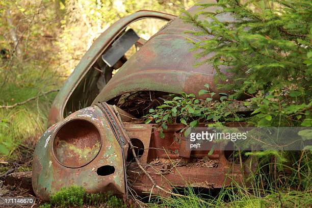 wreck of a classic car - pejft stock pictures, royalty-free photos & images