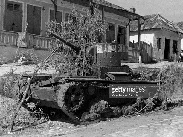 Wreck of a Russian tank destroyed by the Romanian army during the advance into the Crimea Ukraine September 1941