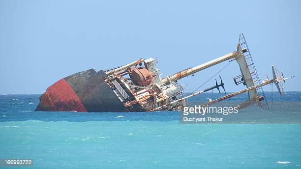 Wreck of ship destroyed in tsunami that hit coastal areas of Indian Ocean on 26 Dec 04.