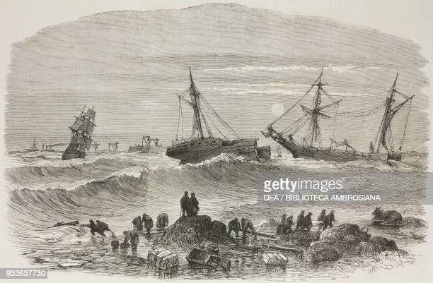 Wreck of the British steamer Stanley Tynemouth United Kingdom illustration from the magazine The Illustrated London News volume XLV December 3 1864