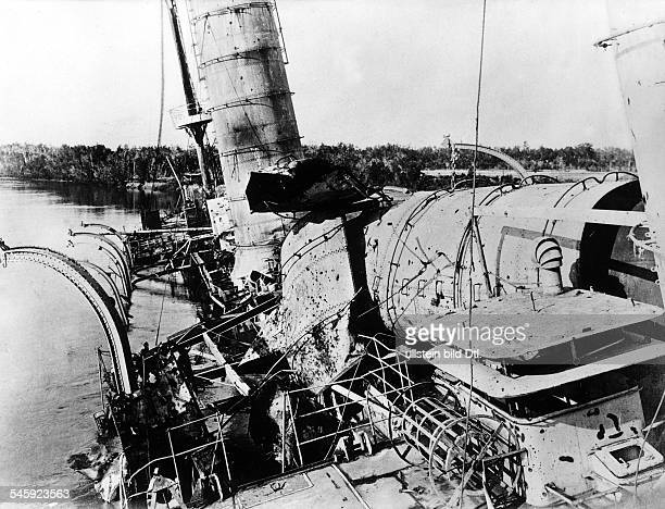 Wreck of the light cruiser 'Königsberg' the ship was blasted by the crew when it was detected and blocked by British naval forces at the mouth of the...