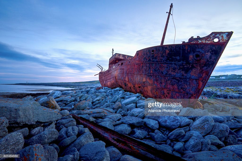 Wreck of the Plassey, Inisheer, County Galway : Stock Photo