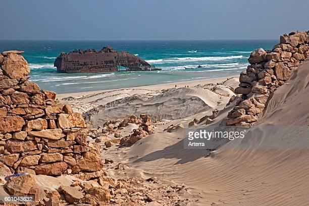 Wreck of the ship M/S Cabo Santa Maria at the beach in Praia de Atalanta on the island Boa Vista Cape Verde / Cabo Verde Western Africa