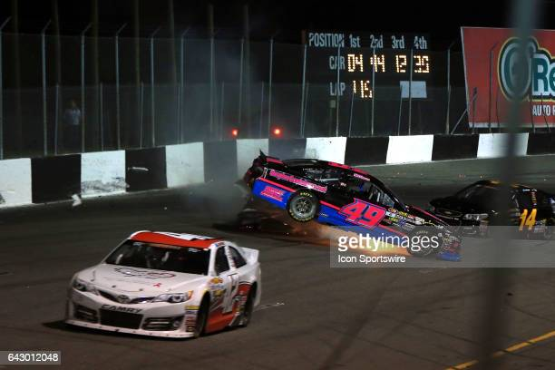 Wreck on lap 115 involving John Hollerman Jr in the Midway Mobile Storage Ford and Enrique Baca in the Peak/Telmex Chevy during the NASCAR KN Series...