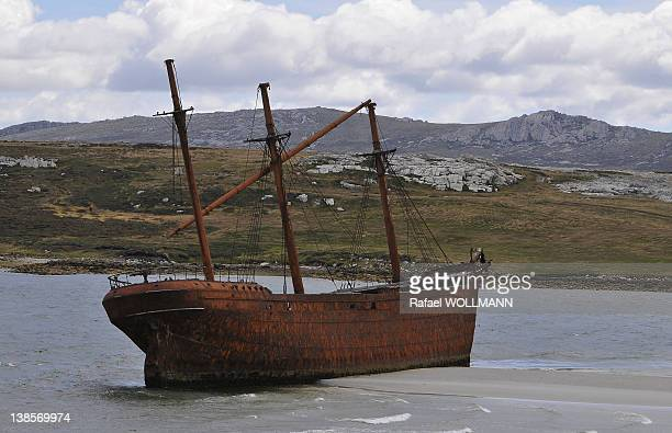 Wreck ship on January 22 2012 in Port Stanley Falklands Islands