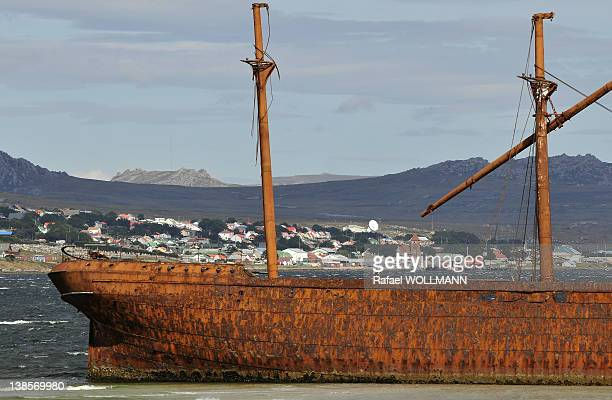 Wreck ship on January 22 2012 in Port Stanley Falklands Islands