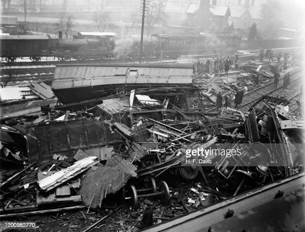 Wreckage at Ashchurch, near Tewkesbury in Gloucestershire the day after a London, Midland & Scottish Railway express train collided with a goods...