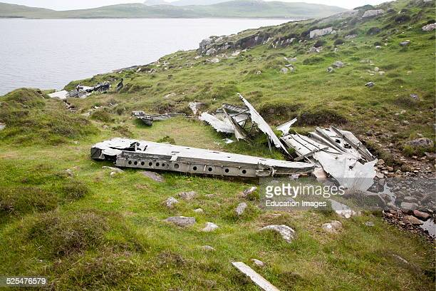 Wreckage at the Catalina plane crash site May 1944 on Vatersay island Barra Outer Hebrides Scotland