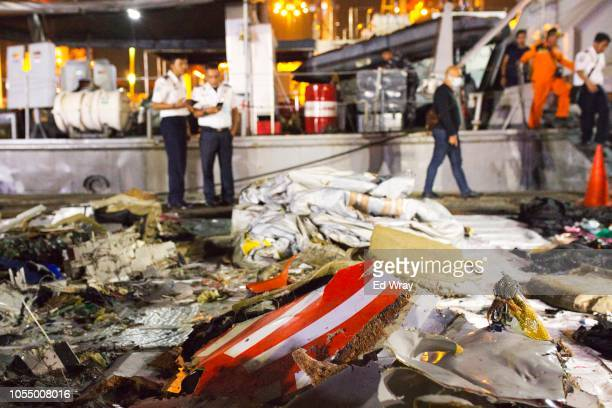 Wreckage from Lion Air flight JT 610 lies at the Tanjung Priok port on October 29 2018 in Jakarta Indonesia Lion Air Flight JT 610 crashed shortly...