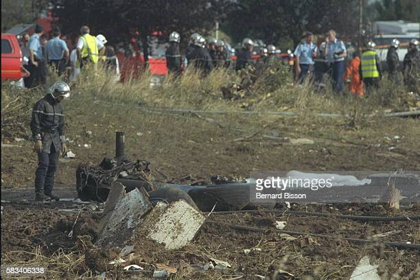 Wreckage from the Concorde which crashed into a hotel in the town of Gonesse two minutes after taking off One hundred and thirteen people died
