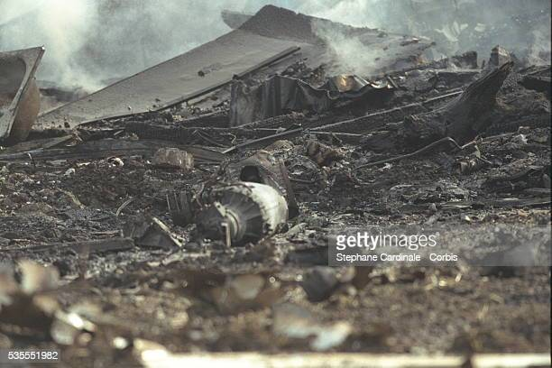 Wreckage from the crashed Concorde and the hotel it hit two minutes after takling off from Roissy Airport Paris