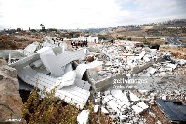 Wreckage of a building belonging to Palestinian Besma Recebi and Muhammed Recebi is seen after Israeli forces demolished their house with the claim...