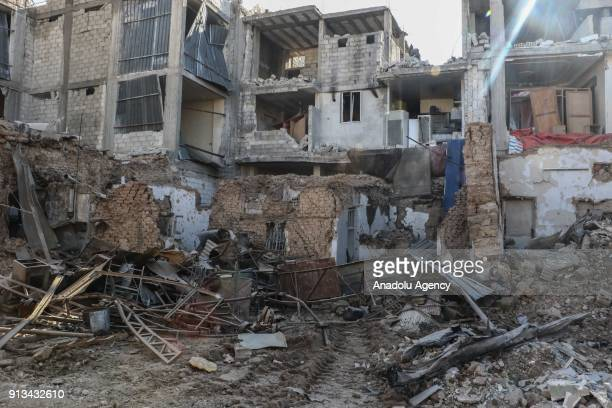 Wreckage of a building is seen after warplanes belonging to Assad Regime carried out airstrikes in the Arbin town of Eastern Ghouta in Damascus Syria...
