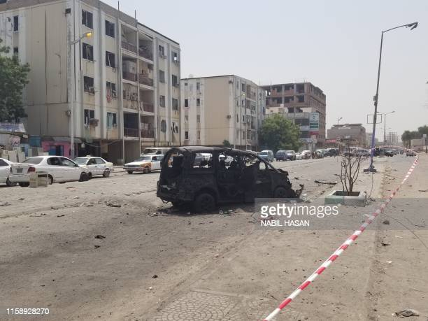 A wreckage of a car is seen following a suicide car bombing on a police station in Sheikh Othman district in Yemen's governmentheld second city Aden...