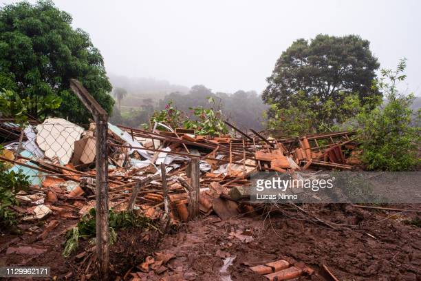 wreckage of a house destroyed by mining tailings wave in brumadinho - mining accident stock pictures, royalty-free photos & images